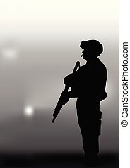 Armed soldier on a dark background..eps
