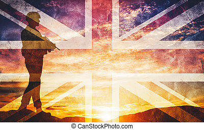 Armed soldier with rifle and British flag. Guard, army, military, war.