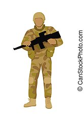 Armed Soldier with Weapon Isolated. Infantry Troop