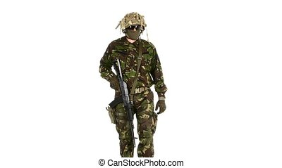 Armed soldiers is easy gait. White backgraund - Armed...