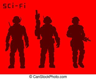Armed soldiers of the future. Vector illustration. - Armed...
