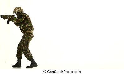 Armed soldiers, walk back. White backgraund - Armed...