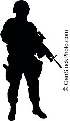 Armed SWAT fighter isolated vector black silhouette