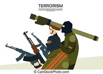 Armed Terrorist Group Terrorism Concept Flat Vector...