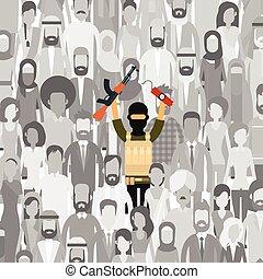 Armed Terrorist In Crowd People Group Terrorism Threat...