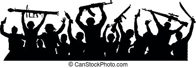Armed terrorists. Crowd of military people with weapons. ...