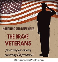armee, amerikanische , uns, soldat, fahne, salutieren