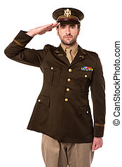 armee, offizier, in, salutieren, seine, älter