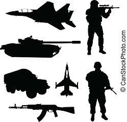 armee, silhouetten