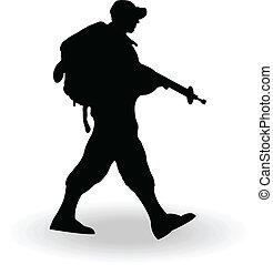 armee, soldat, silhouette