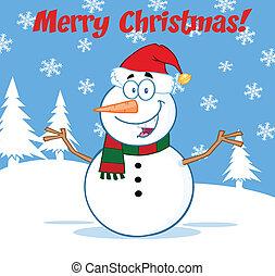 armen open, sneeuwpop