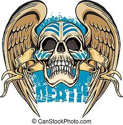 armen, schedel, grunge, jas