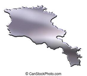 Armenia 3D Silver Map