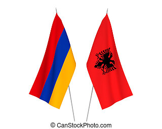 Armenia and Albania flags - National fabric flags of Armenia...