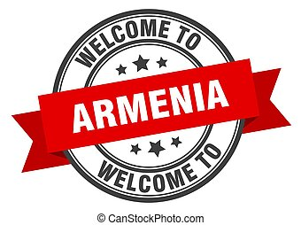 Armenia stamp. welcome to Armenia red sign