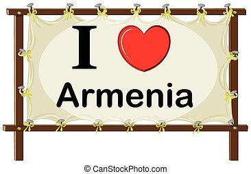Armenia - I love Armenia sign in wooden frame