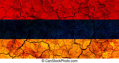 armenia country flag painted on a cracked grungy wall
