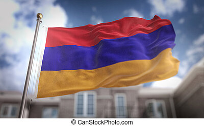 Armenia Flag 3D Rendering on Blue Sky Building Background