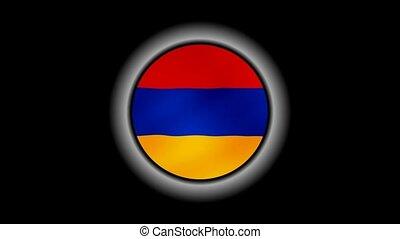 Armenia flag button isolated on black