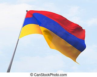 Armenia flag flying on clear sky.