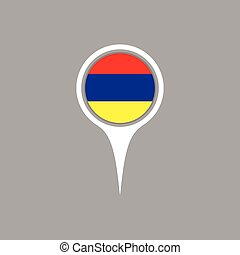 Armenia flag location map icon , Vector illustration.