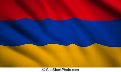 Armenia flag Motion video waving in wind. Flag Closeup 1080p HD footage