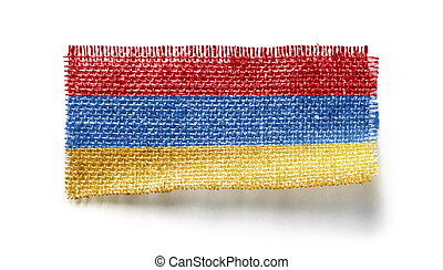 Armenia flag on a piece of cloth on a white background