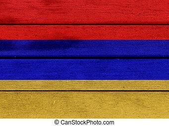 Armenia flag on a wood