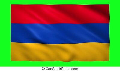 Armenia flag on green screen