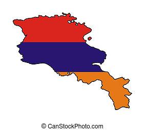 Armenia flag on map