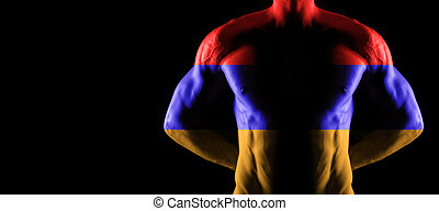 Armenia flag on muscled male torso with abs