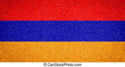 Armenia flag on paper background