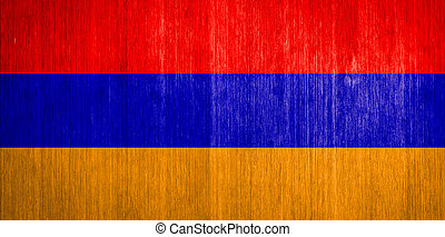 Armenia Flag on wood background
