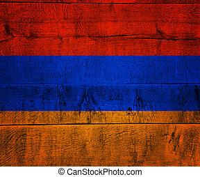 Armenia Flag on Wood
