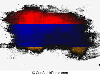 Armenia flag painted with brush