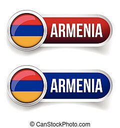 Armenia flag silver button