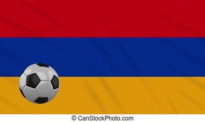Armenia flag waving and football rotates, loop