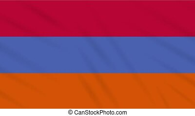 Armenia flag waving cloth background, loop