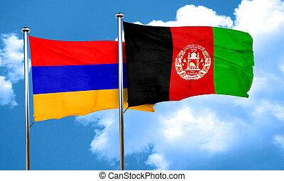 Armenia flag with afghanistan flag, 3D rendering