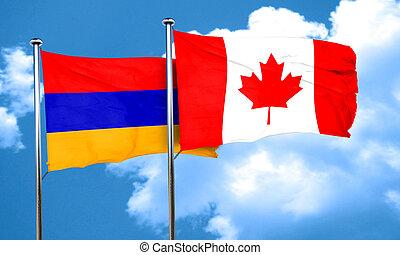 Armenia flag with Canada flag, 3D rendering