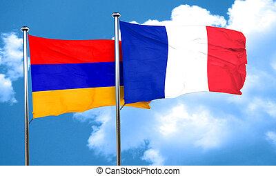 Armenia flag with France flag, 3D rendering