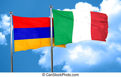 Armenia flag with Italy flag, 3D rendering