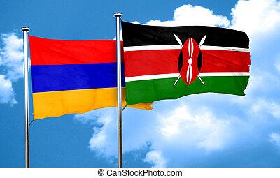 Armenia flag with Kenya flag, 3D rendering