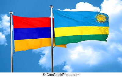 Armenia flag with rwanda flag, 3D rendering