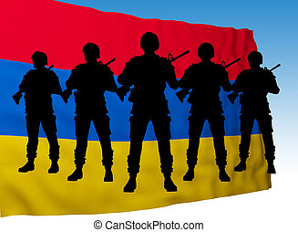 Armenia flag with soldier silhouette