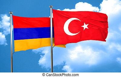 Armenia flag with Turkey flag, 3D rendering