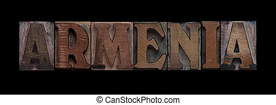 Armenia in old wood type