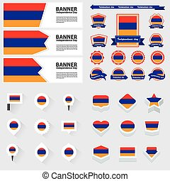 armenia independence day, infographic, and label Set.