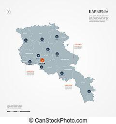 Armenia infographic map vector illustration.