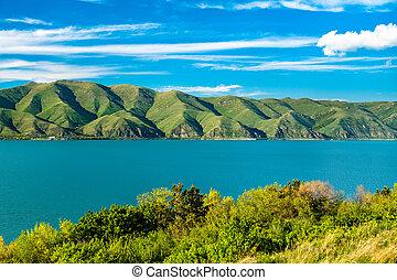 armenia, isla, sevan, lago, vista